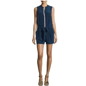 TORY BURCH Marguerite Embroidered Silk Romper